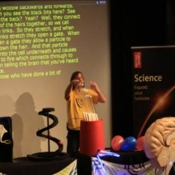 Tobin May (Deafness Research UK's Bionic Ear Show presenter) used a giant ear and brain to explain how the ear works