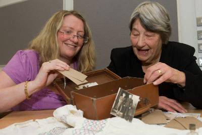 Gillian (researcher), Sheila (evacuee) and suitcase