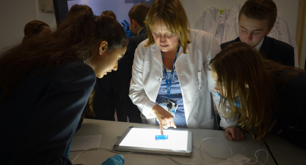 University of Southampton Talk to US! 'School pupils examine their electrophoresis gels at LifeLab'