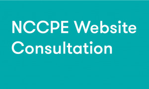 """White text on teal background reading """"NCCPE website consultation"""""""