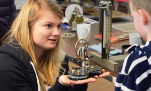Child examining object
