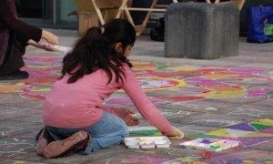 Child participating in educational activity