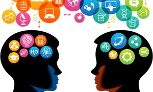 graphic of two heads generating ideas