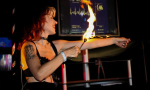 Woman with fire at cabaret