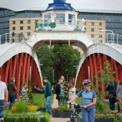 Newcastle University staff and students transform Newcastle's Swing Bridge in to a garden for a weekend, August 2011