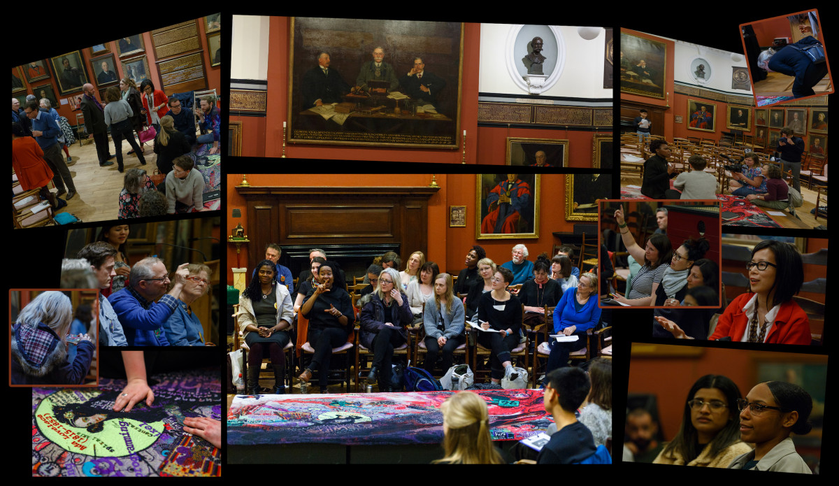 A collage of 10 different images showing many people in a room, sitting and listening to each other, standing and speaking to each other, some with their hands up. The room is grand looking with large paintings and sculptures on the walls.